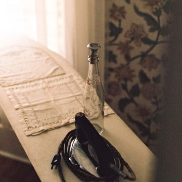 Vintage iron and ironing board