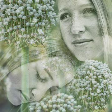 two young women in flowers