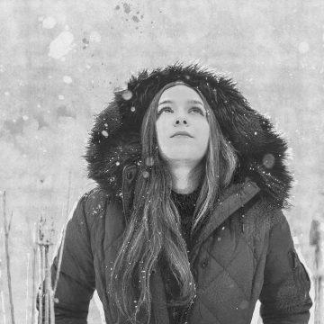 beautiful illustration of girl in snowfall
